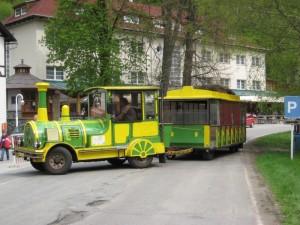 Местная экскурсионная машинка-паровозик с пассажирскими вагончиками